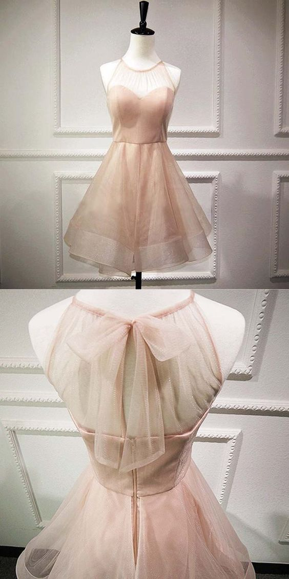 Cute Pink A Line Homecoming Dress,Tulle Short Prom Dress,Tulle Halter Graduation Dress,Sweet 16 Dress,B0131