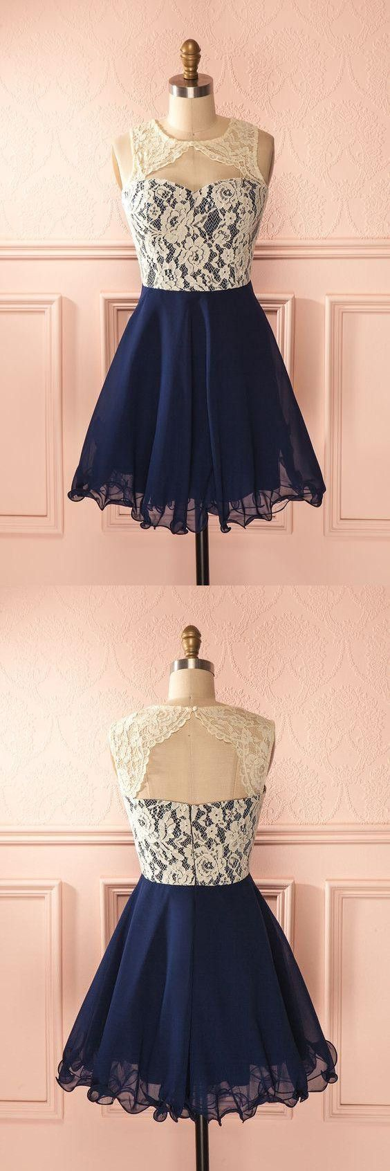 Cute Round Neck Lace Homecoming Dress,Navy Blue Lace Short Prom Dress,B0135