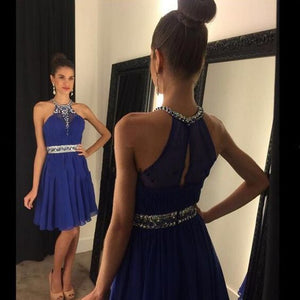 Cute A Line Chiffon Halter Beaded Prom Dress,Short Party Dress For Teens,Royal Blue Homecoming Dress,B0136