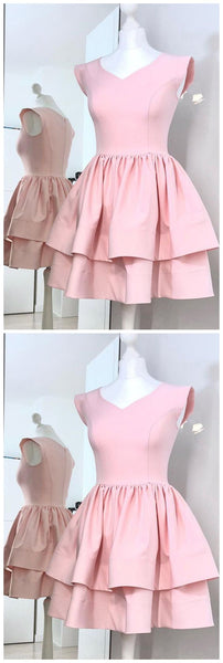 A-Line V-Neck Cap Sleeves Pink Homecoming Dress, Two Layers Satin Mini Prom Dresses, Sweet 16 Dress,B0139