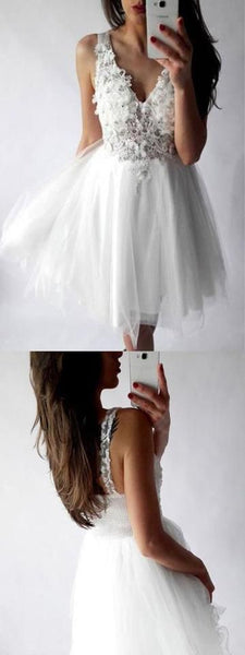 White Lace Homecoming Dresses ,V-neck Homecoming Dresses,Cheap Short Prom Dresses,B0146