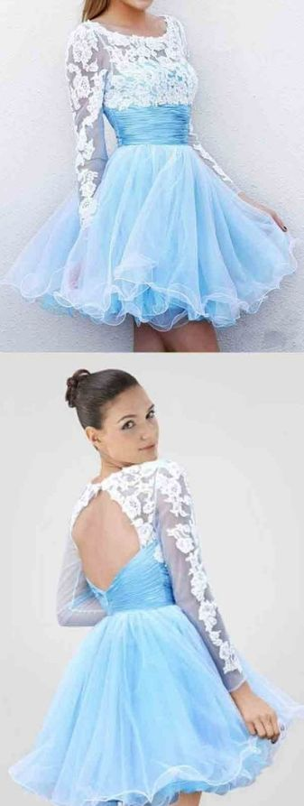 Prom Dresses Scoop Neckline Lace Tulle Keyhole Homecoming Dresses Short Prom Dress,B0157