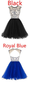 Bridal Beaded Backless Tulle Short Prom Dress Homecoming Dress,B0163