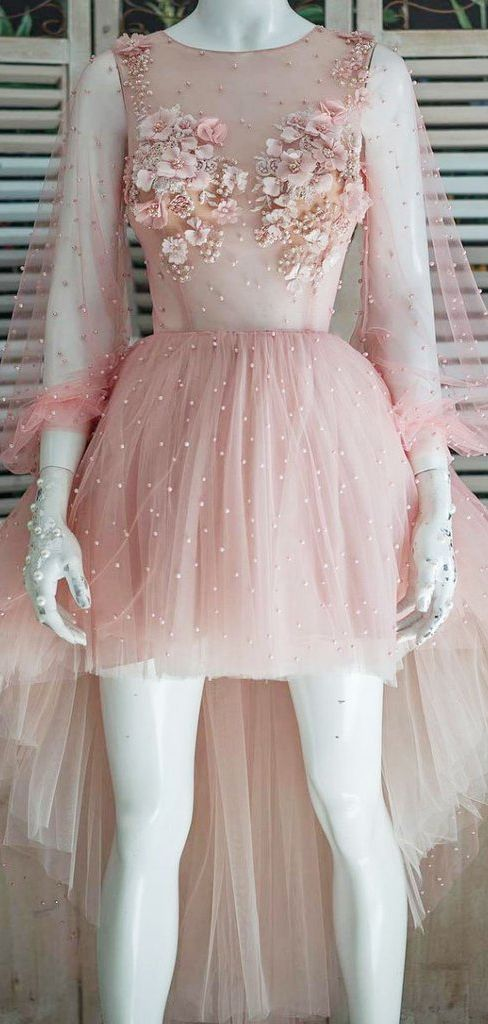 High Low Blush Pink Lace Prom Dresses With Pearl Beaded Homecoming Dress ,B0173