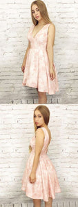 High Low Homecoming Dress A-line Pink V neck Lace Homecoming Dresses ,B0175