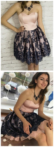 A-line Sweetheart Short Prom Dress Short/Mini Lace Short Prom Dresses Homecoming Dress,B0180
