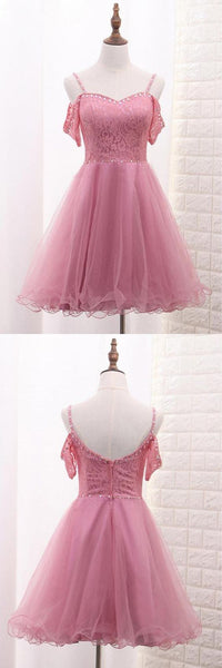 Pink Spaghetti Straps Short Tulle Party Dresses Homecoming Dresses,B0187