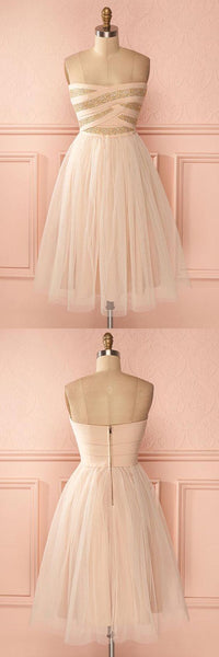 A-Line Strapless Knee-Length Sweetheart Tulle Homecoming Dress,B0188