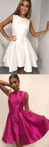 A-Line Round Neck Pleated White Satin Homecoming Party Dress,B0191