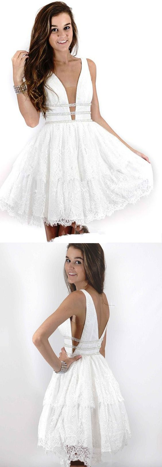 Deep Neck Short Prom Dress White Lace Homecoming Dress ,B0192