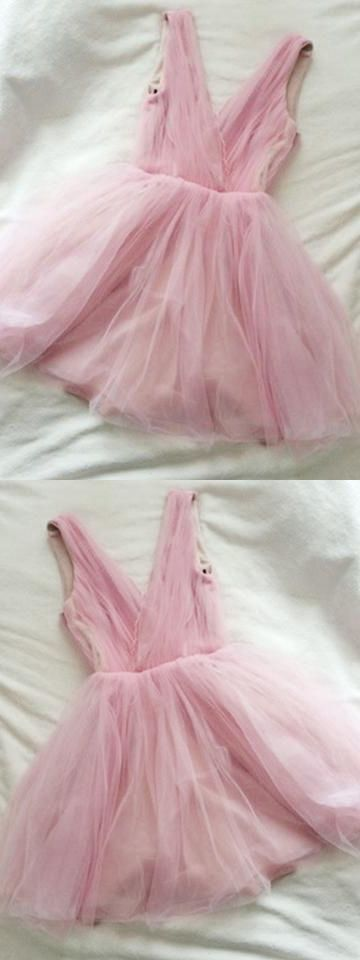 Cute Homecoming Dress V Neck A line Ruffles Tulle Short Prom Dress Sexy Party Dress ,B0210