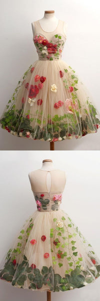 Beautiful Unique Flowers Gorgeous Lovely Short Homecoming Dresses,B0214