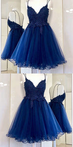 Charming Tulle Appliques Short Homecoming Dress, Backless Short Party Dress ,B0215