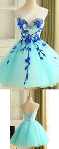 Ball Gown Tulle Homecoming Dress Beautiful A Line Flower Short Prom Dress Party Dress ,B0216