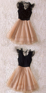 A-Line V-Neck Short Champagne Chiffon Homecoming Dress with Flowers Tiered,B0218