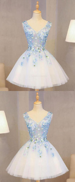 Lace Prom Dresses, Cute Prom Dresses, Homecoming Dresses Short, Blue Homecoming Dresses,B0227