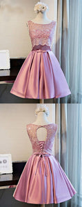 A-Line Scoop Knee-Length Pink Satin Homecoming Dress With Lace ,B0237