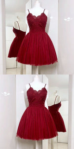 Spaghetti Straps A-Line Burgundy Tulle Short Prom Dress with Lace,B0238