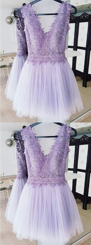 A-Line Deep V-Neck Backless Lilac Short Homecoming Dress With Lace,B0239