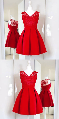 A-Line V-Neck Red Satin Short Homecoming Dress With Lace ,B0240