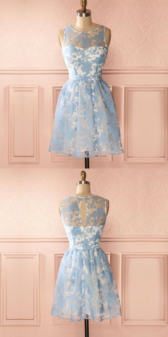 A-Line Round Neck Keyhole Back Blue Homecoming Dress With Lace,B0242
