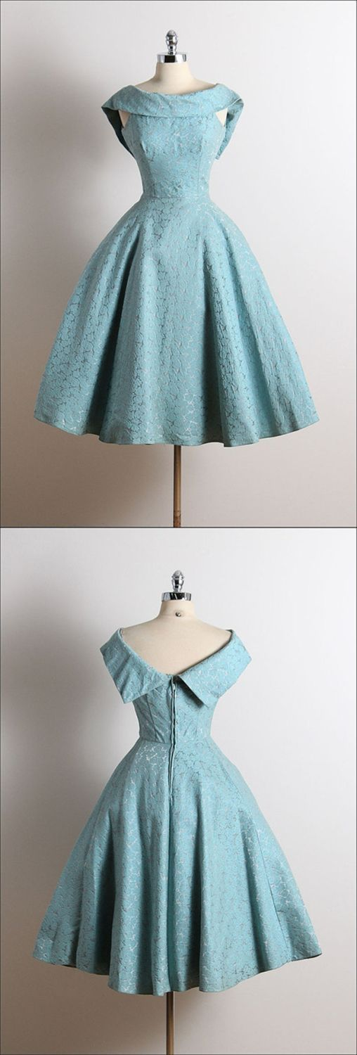 Vintage Scoop A-Line Sleeveless Knee-Length Lace Blue Homecoming Dress ,B0246