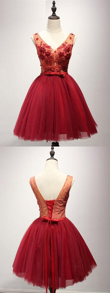 A-Line V-Neck Lace-Up Red Tulle Short Homecoming Dress with Appliques Bowknot,B0255
