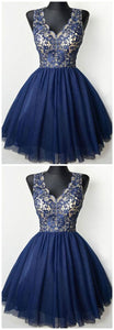 Navy Blue V Neck Lace Homecoming Dresses,Sleeveless Cocktail Dresses,B0267