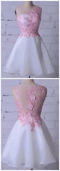 Round Neck Sleeveless Homecoming Dresses Lace Appliques Cocktail Dresses,B0269