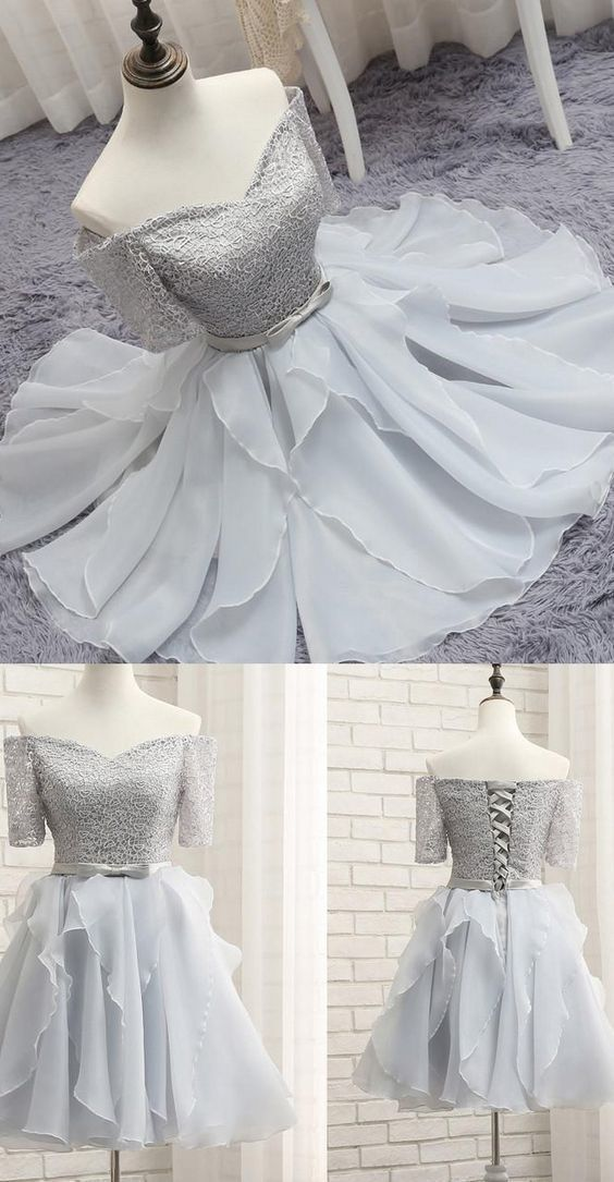 Short Silver Party Homecoming Dresses With Bowknot Lace Up Mini Great Prom Dresses,B0272