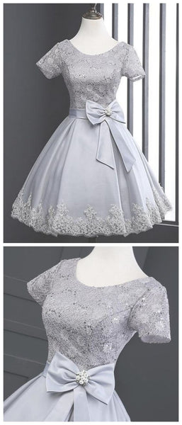 Grey Scoop Neck Short Sleeve A Line Homecoming Dresses,B0282