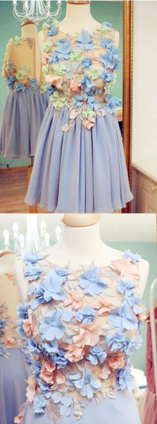 Cute Round Neck Embroidery Lavender Short Homecoming Dress With Flowers,B0284
