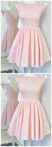 Mini Pink Cap Sleeve Satin Prom Dress With Appliques, A Line Ruched Homecoming Dress,B0285