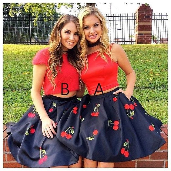Red Two Pieces Homecoming Dress with Pockets,Cute Homecoming Dress,Short Prom Dress,B0294
