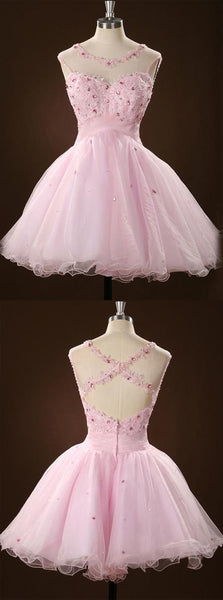 A-line Scoop Short/Mini Pink Tulle Beaded Homecoming Dress With Appliques Crystal,B0301