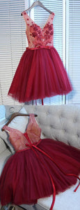 Chic A-Line V Neck Lace Up Short Dark Red Tulle Homecoming Dress with Appliques,B0304