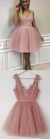Dirty Pink Homecoming Dress,Tulle Homecoming Dress,Homecoming Dress with Lace,Short Homecoming Dress,Graduation Dress,B0307