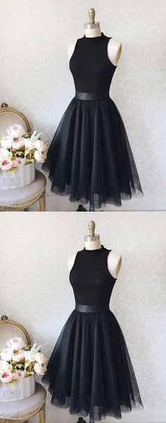 Vintage A-Line High Neck Sleeveless Knee-Length Black Homecoming Dress With Tulle,Short Homec