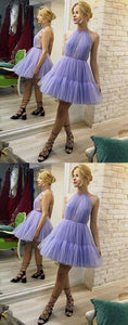 Unique A-Line Halter Backless Pleated Lavender Tulle Homecoming Dress,Formal Homecoming Dress,B0310
