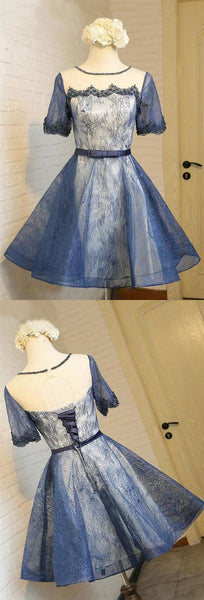 Blue Short Sleeves Lace Homecoming Dresses,A Line Short Cocktail Dress,B0316