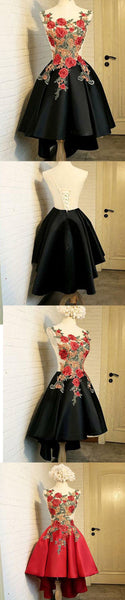 Elegant Round Neck Black High Low Homecoming Dress with Appliques,B0320
