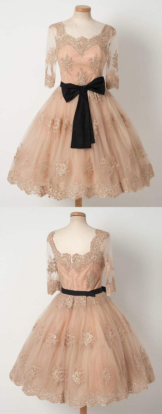A-Line Half Sleeves Short Champagne Homecoming Dress with Sash Appliques,B0331