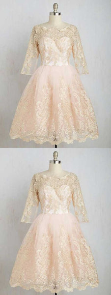 A-Line Boat Neck Knee-Length 3/4 Sleeves Champagne Tulle Homecoming Dress,B0332