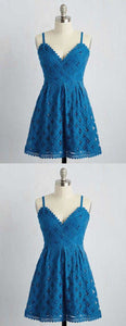 A-Line Spaghetti Straps Short Blue Lace Homecoming Dress,B0337