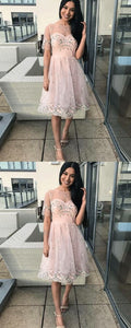 A-Line Bateau Short Sleeves Pink Lace Homecoming Dress.B0354