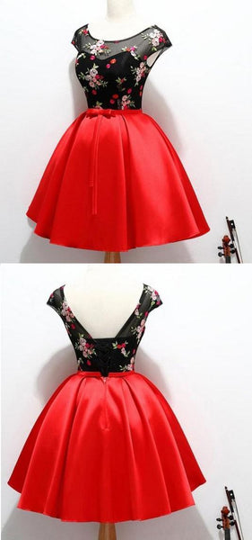 Black And Red Satin Homecoming Party Dresses With Applique, A Line Short Prom Dress,B0357