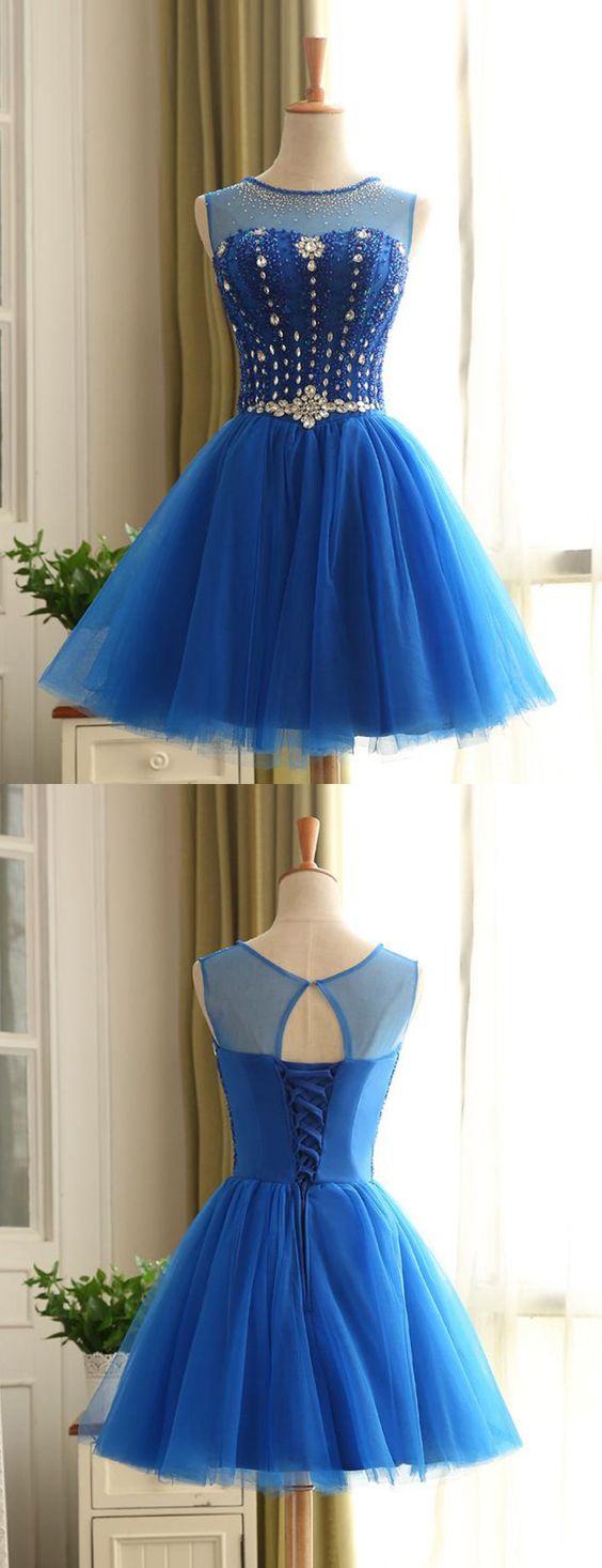 Royal Blue Short Beading Open Back Homecoming Dress,B0368