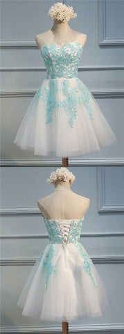 A-Line Sweetheart Short White Tulle Homecoming Dress with Appliques,B0370