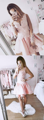 A-Line V-Neck Long Sleeves Short Pink Homecoming Dress with   Lace,Cheap Prom Dress,Formal Dress,B0371