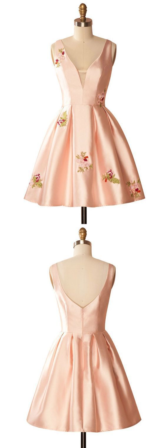 A-Line V-Neck Pink Satin Homecoming Dress,Simple Homecoming Dresses,Cheap Prom Dress,Formal Dress,B0379